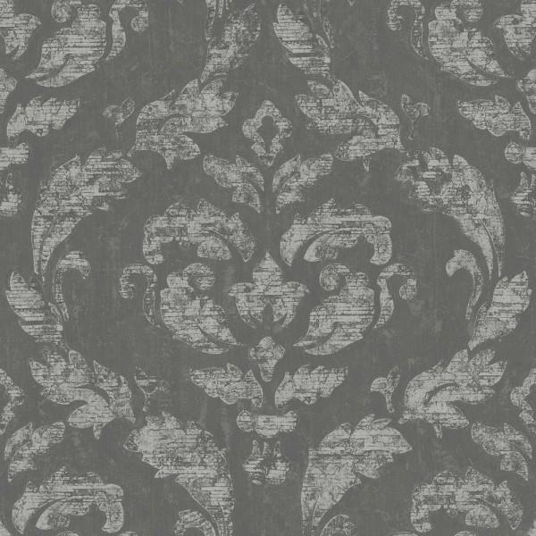 Essener Ambiance Vlies Tapete Textil Ornament grau blau silber metallic  G67782 Textil Ornament grau