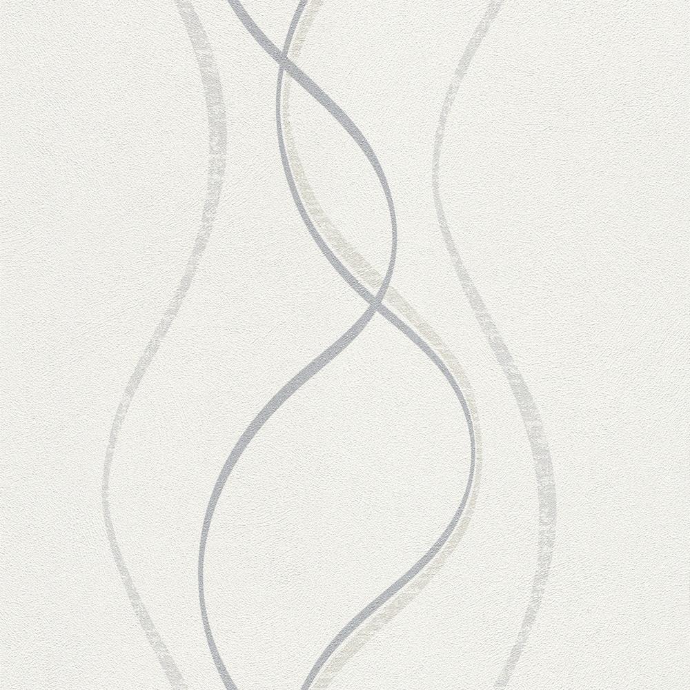 Rasch fiducia vlies tapete 425017 wellen wei grau for Tapeten silber grau weiss