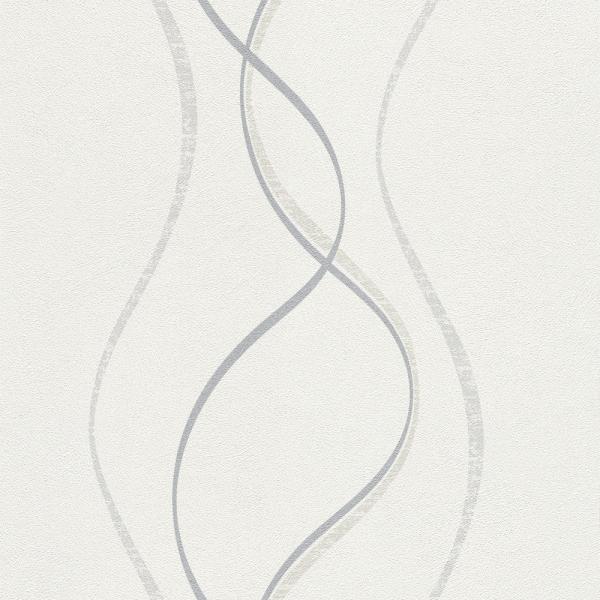 Rasch Fiducia Vlies Tapete 425017 Wellen weiß grau