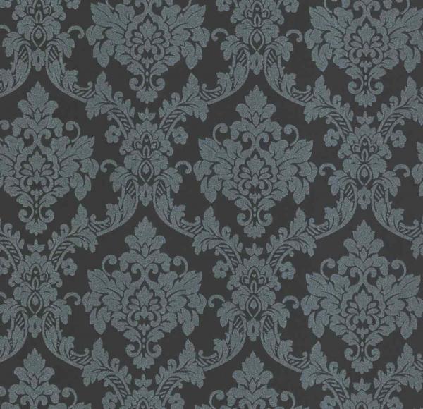 P+S Lacantara Vlies Tapete 13701-10 Ornament blau schwarz anthrazit metallic