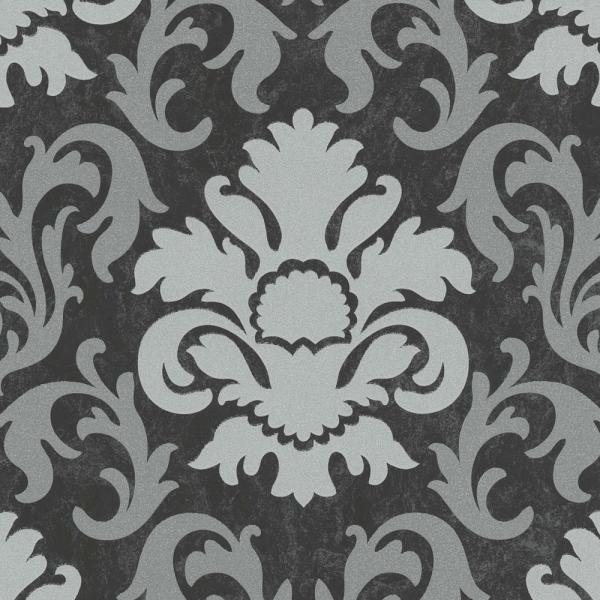 P+S Carat Vlies Tapete 13343-40 Barock schwarz silber metallic ...
