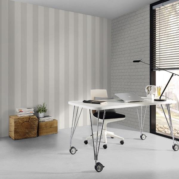Rasch Tapeten Unternehmen : Rasch Just Me Papier Tapete 286632 Streifen wei? silber Auf einen