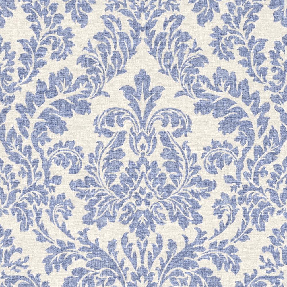 Rasch Florentine Vlies Tapete 449013 Barock Weiss Blau Ornament