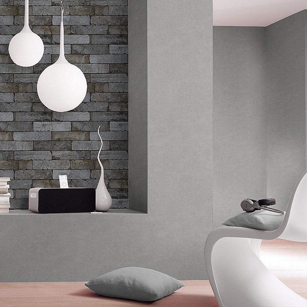 rasch factory ii vlies tapete 446333 natur stein grau schwarz braun factory ii rasch. Black Bedroom Furniture Sets. Home Design Ideas