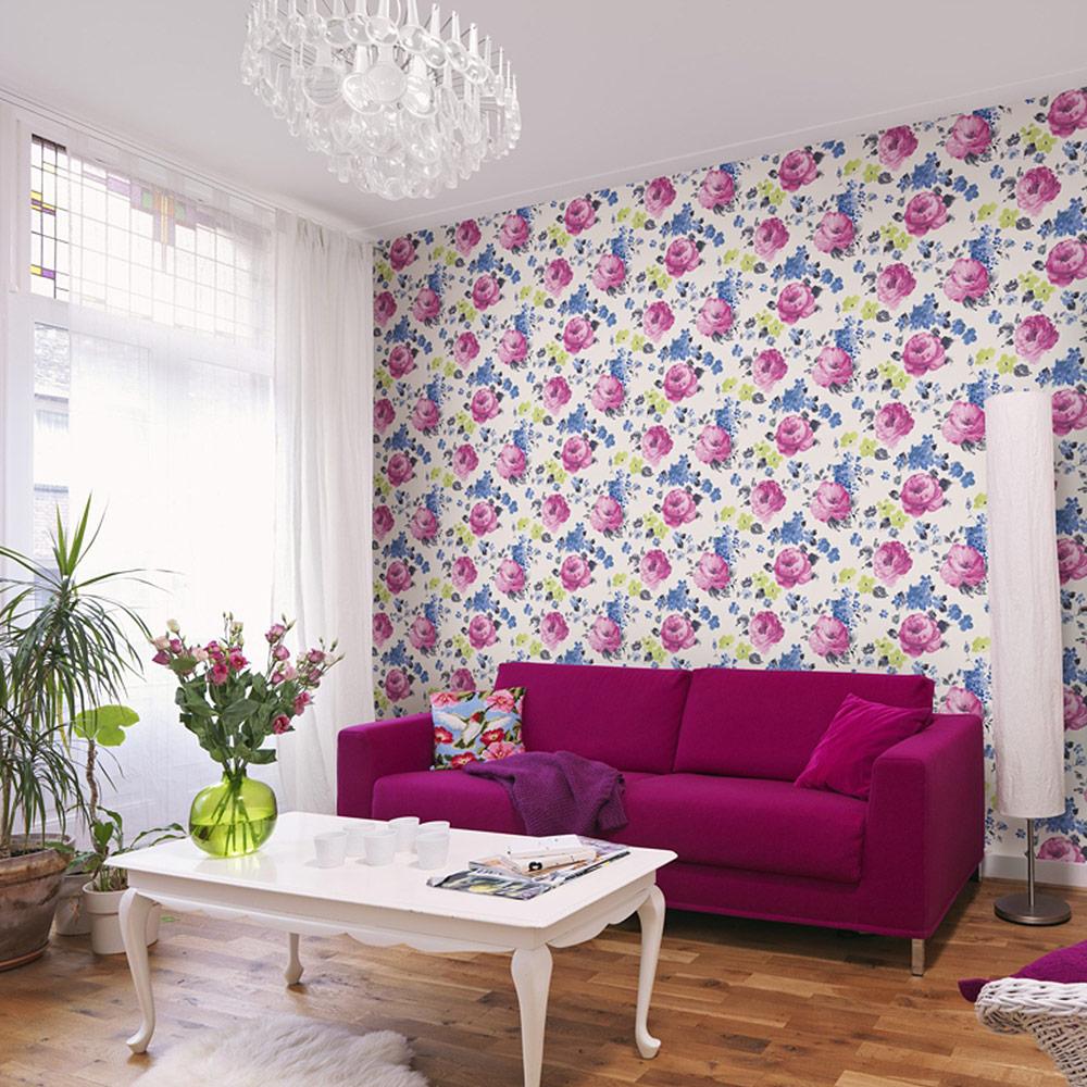 Rasch Kindertapeten Vlies : Rasch Florentine Vlies Tapete 448825 Floral creme bunt Floral Stil