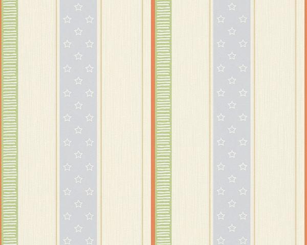 As Creation Esprit Kids 4 Vlies Tapete 302943 Streifen creme-blau-grün