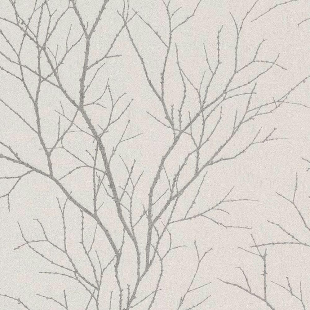 Tapete weiß silber  Rasch Cherlene Vlies Tapete 455922 Floral weiß silber   Floral ...