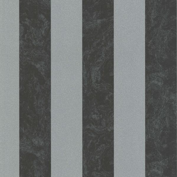 P S Carat Vlies Tapete 13346 40 Streifen Schwarz Silber Metallic