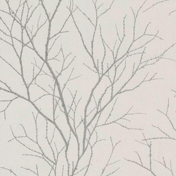 Rasch Cherlene Vlies Tapete 455922 Floral Weiß Silber